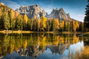Dolomitské podzimní odrazy. Autor: Lukáš Budínský (foto.lukasx.cz), Fotoaparát: Canon EOS 70D, Objektiv: 17-50mm